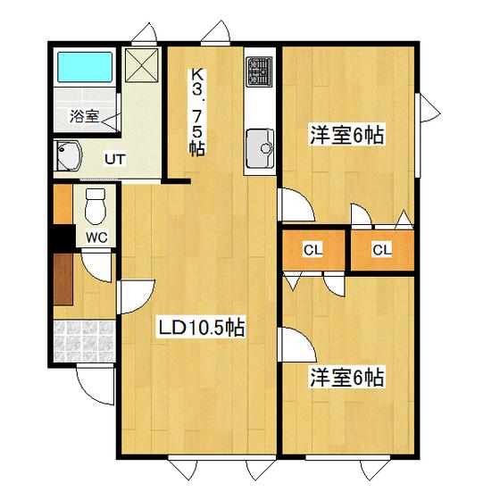 ルクソール D号室 間取り図