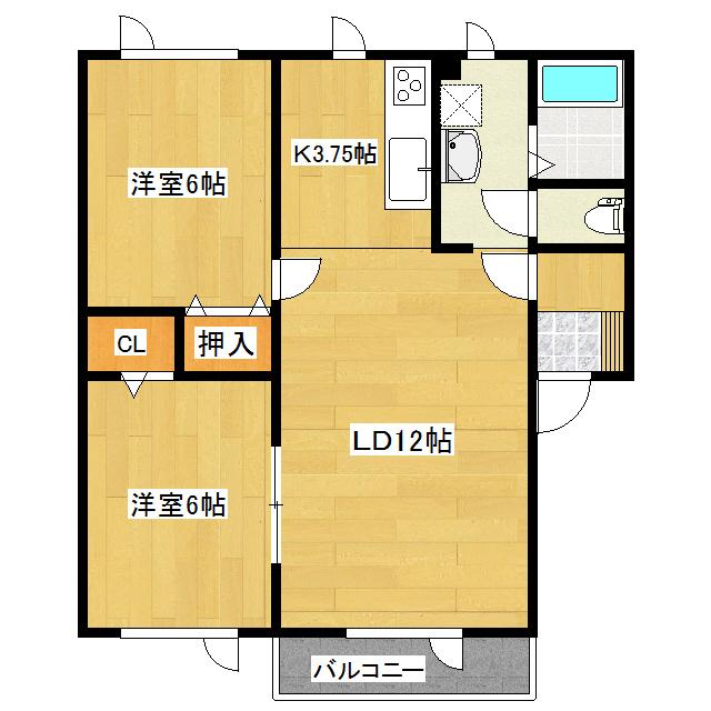 ビアンI 102号室 間取り図