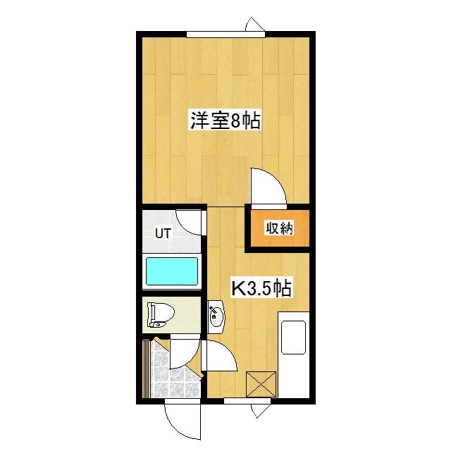 北上ハイツ26A 1-01号室 間取り図