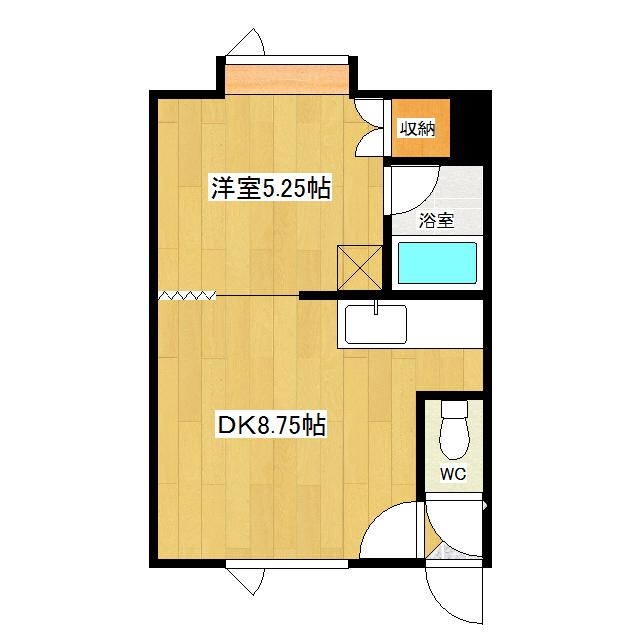 AM3×3 203号室 間取り図
