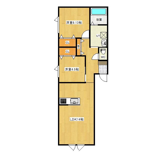 ブルーム西三輪 101号室 間取り図