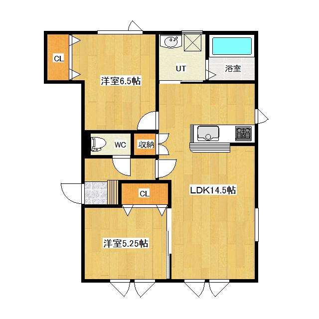 ラ・フルール D号室 間取り図