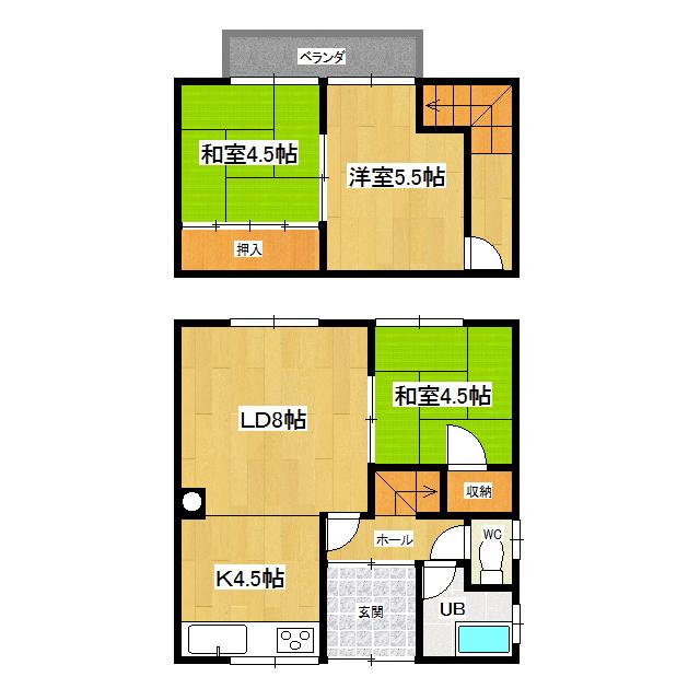 西富町 花輪二戸貸家 001号室